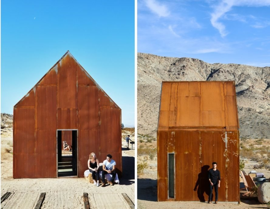 pair of rusted steel clad cabins