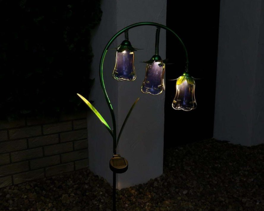 a bluebell lantern with three glass bulbs