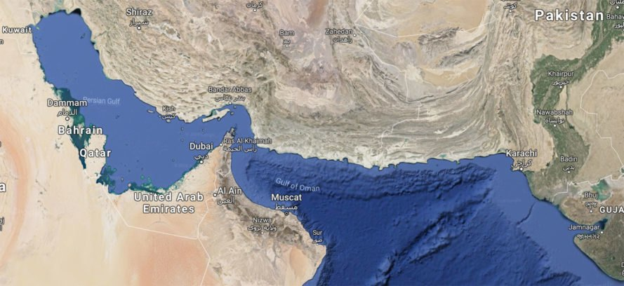 Map showing the Gulf of Oman