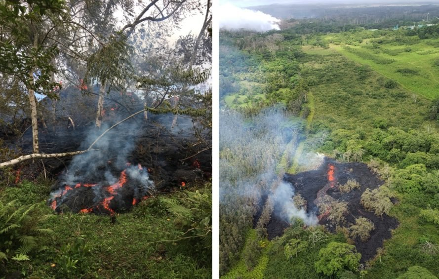 Lava flows from fissures during Hawaii's Kilauea eruption