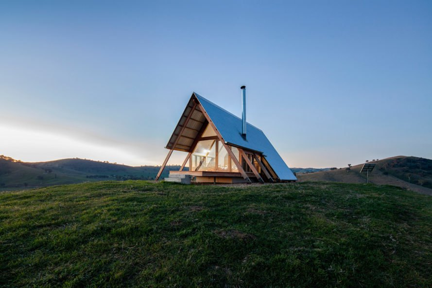 A frame cabin with steel roofs