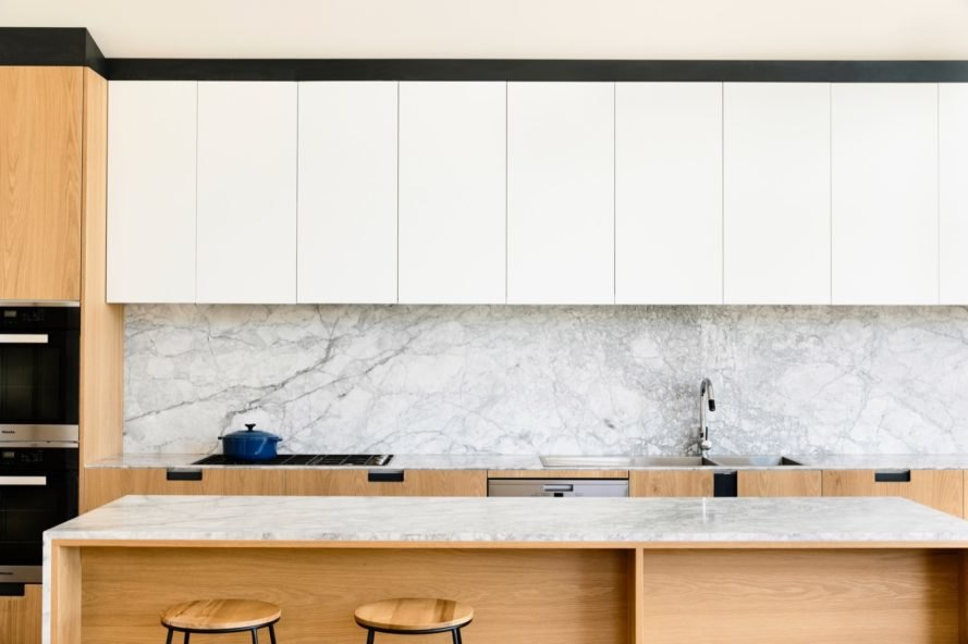 marble counters kitchen Lake Wendouree House by Porter Architects