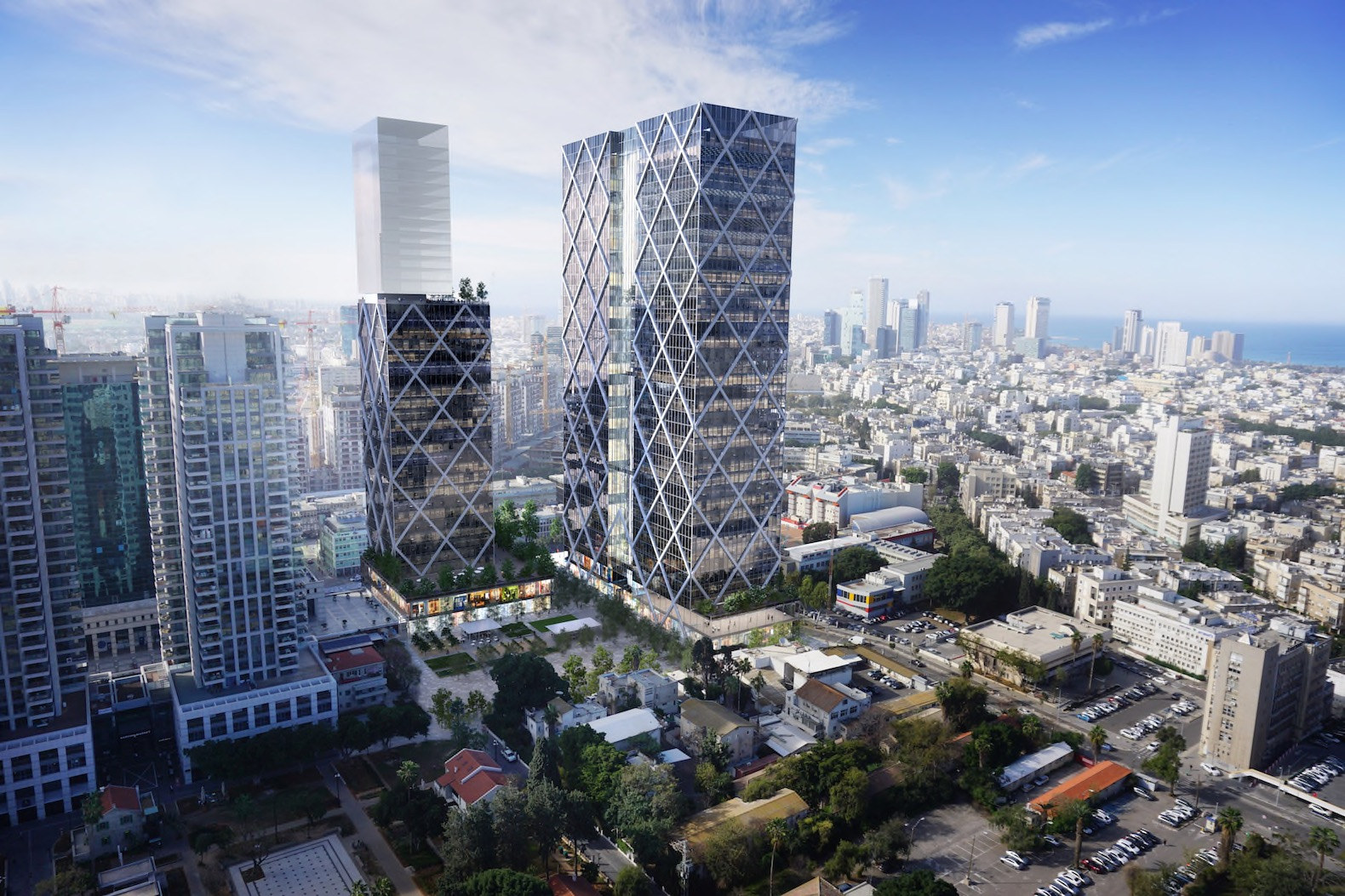 Trio of LEED Platinum-targeted glass skyscrapers revealed for Tel Aviv