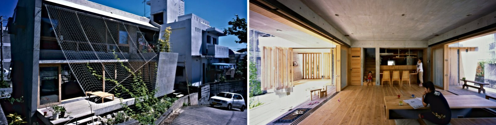 dual photos of home with mesh walls and open interior