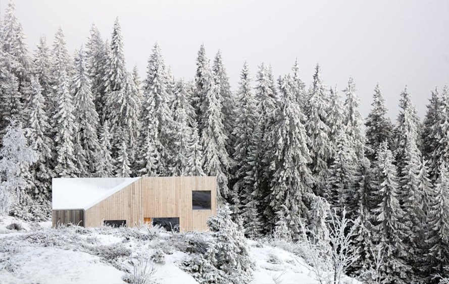 Pine forest Mylla Cabin by Mork-Ulnes Architects