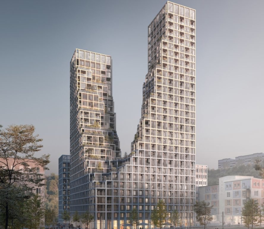 twin towers at Nacka Port by Kjellander+Sjöberg Architects