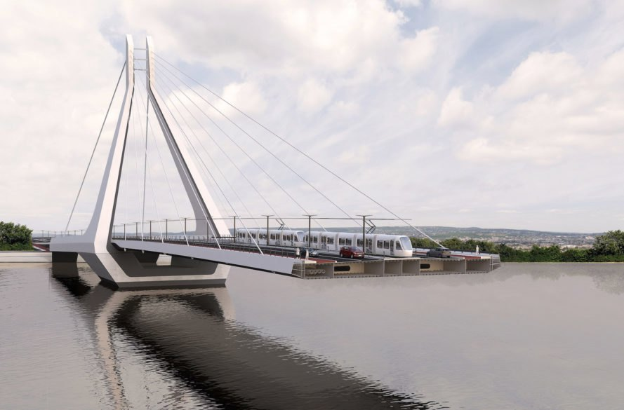 cable stayed New Budapest Bridge by UNStudio