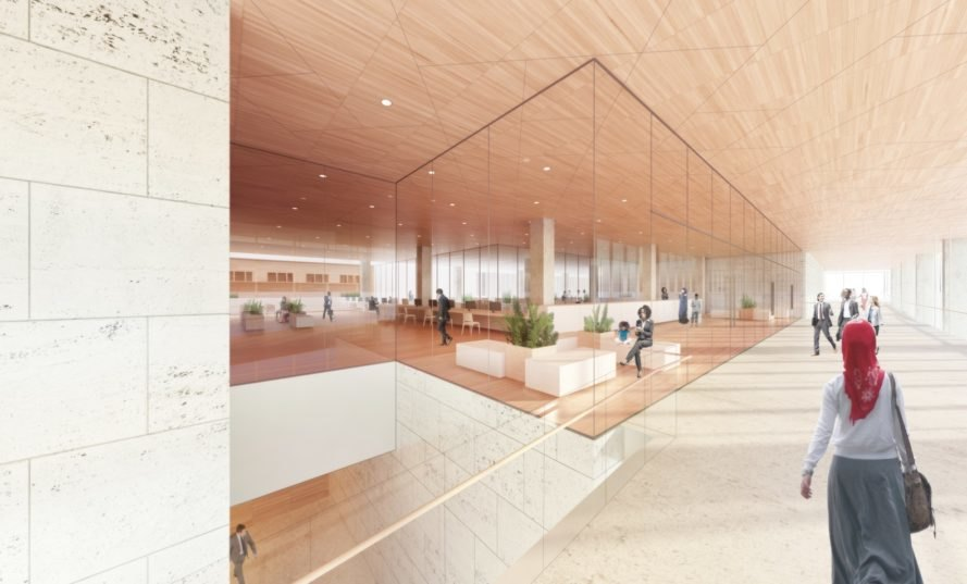 interior offices of New Public Service Building by Henning Larsen Architects and MSR