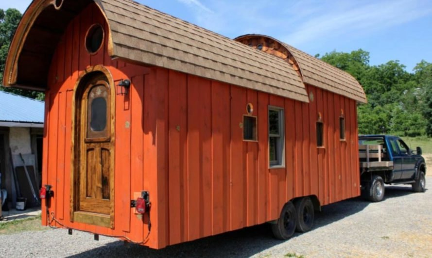 Wooden caravan on wheels