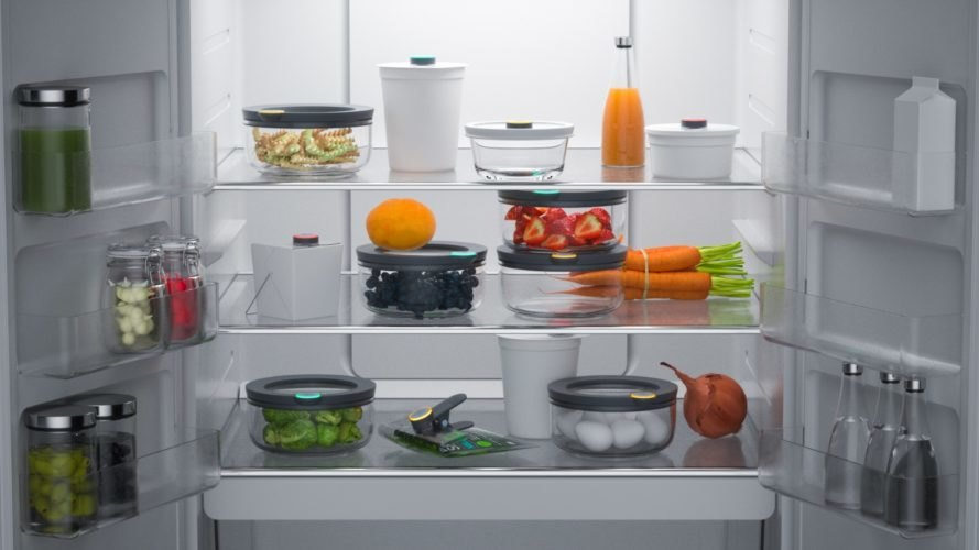 Food equipped with Ovie Smarterware in a refrigerator