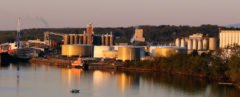 Image of Port of Albany in New York at dusk