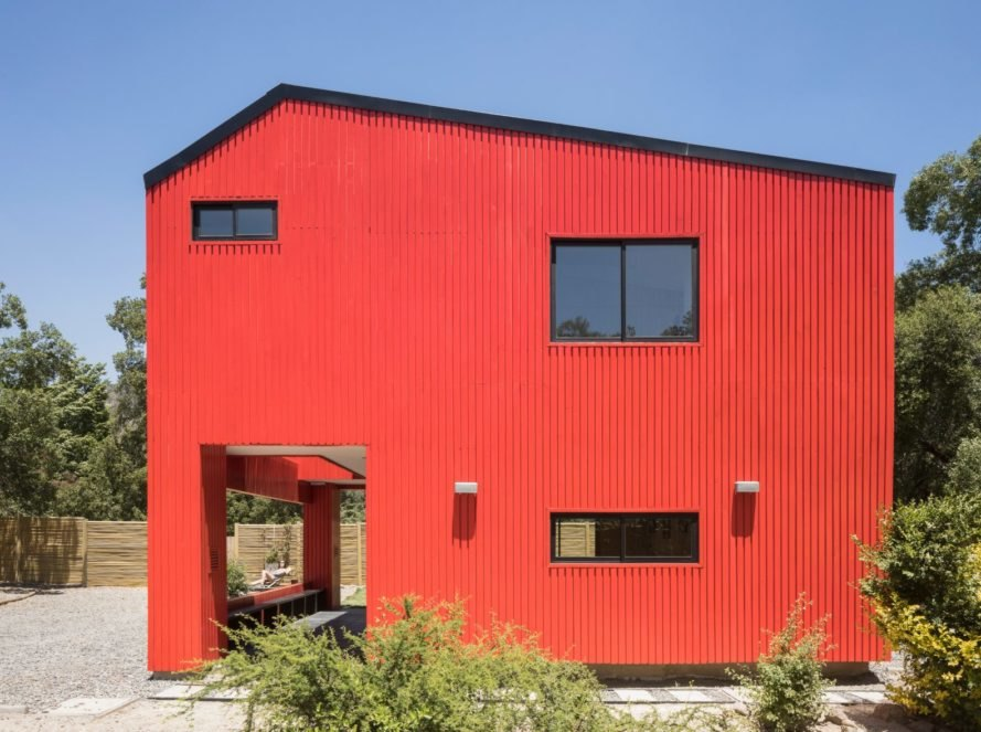 side view of large red home