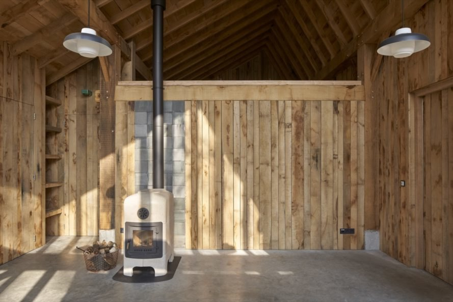 storage space and a wood-burning stove