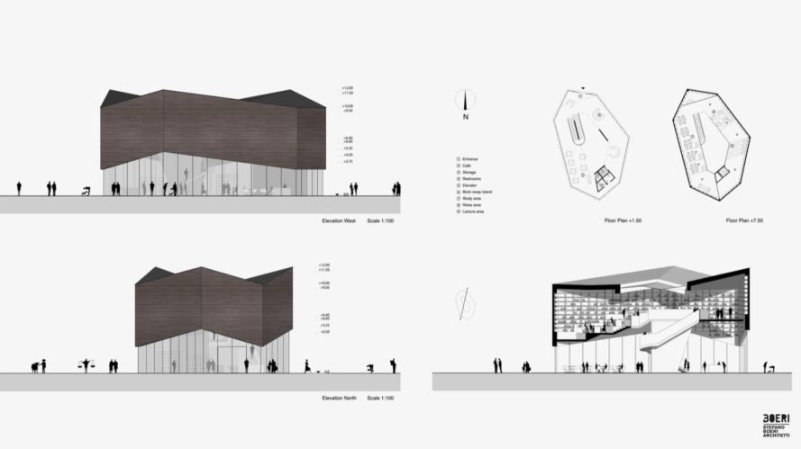 library sections and plan Slow Food Village China by Stefano Boeri Architetti