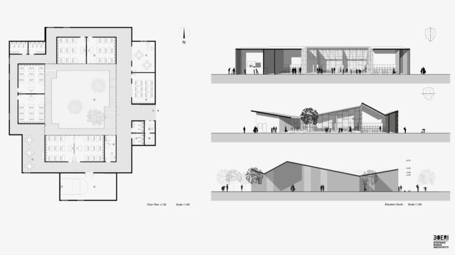 school elevations and plan