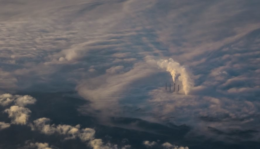 Smokestacks glimpsed above the clouds in Kentucky
