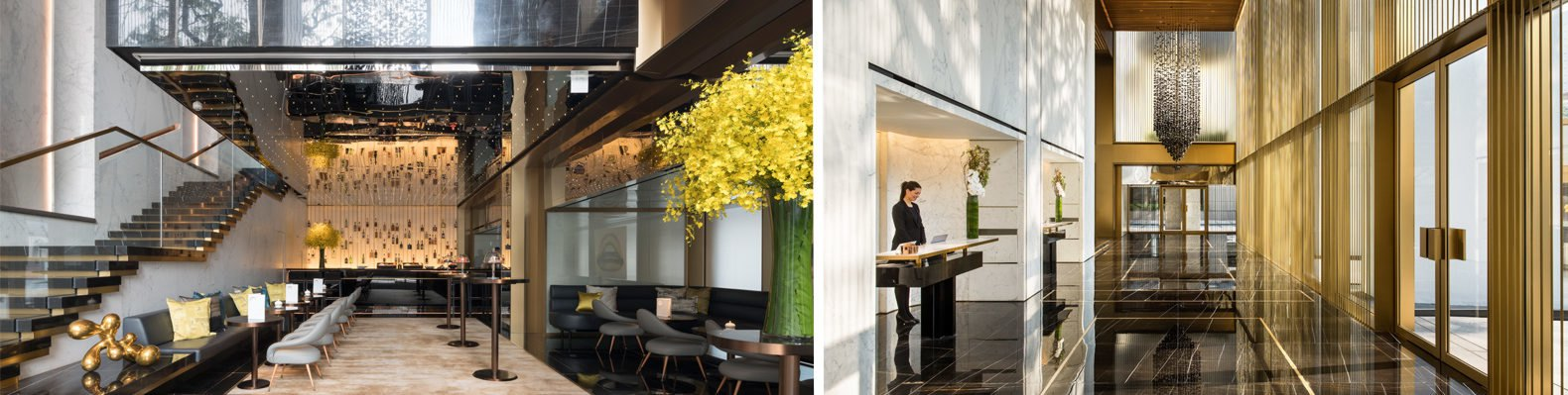On the left, image of hotel restaurant. On the right, image of black and gold hotel lobby