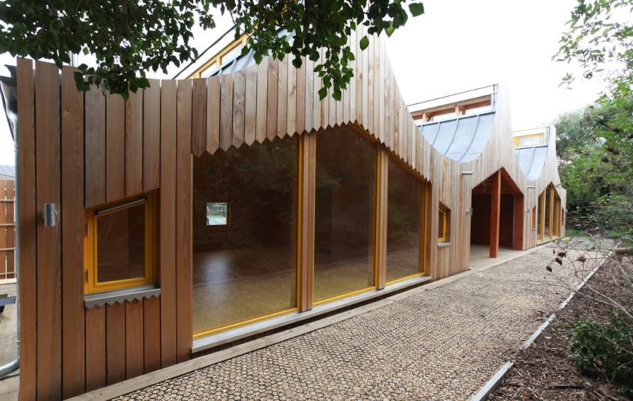 Back view The Wooden Classroom by Studio Weave