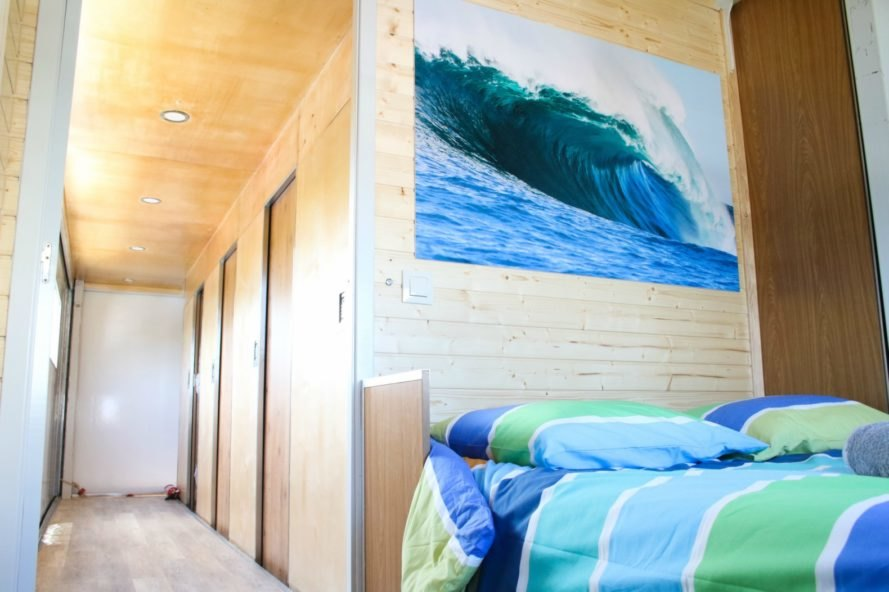 The bedroom of the Truck Surf Hotel