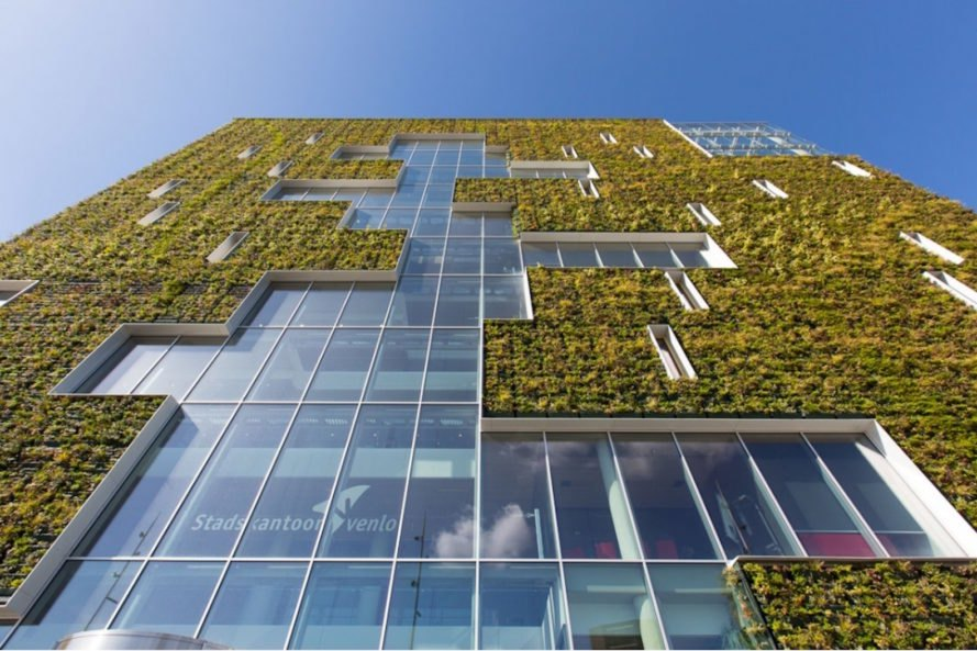 Modulo green vertical wall Venlo City Hall by Kraaijvanger Architects