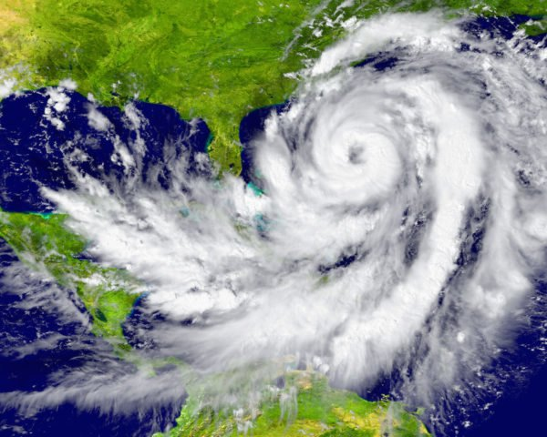 Satellite image of large hurricane between Florida and Cuba