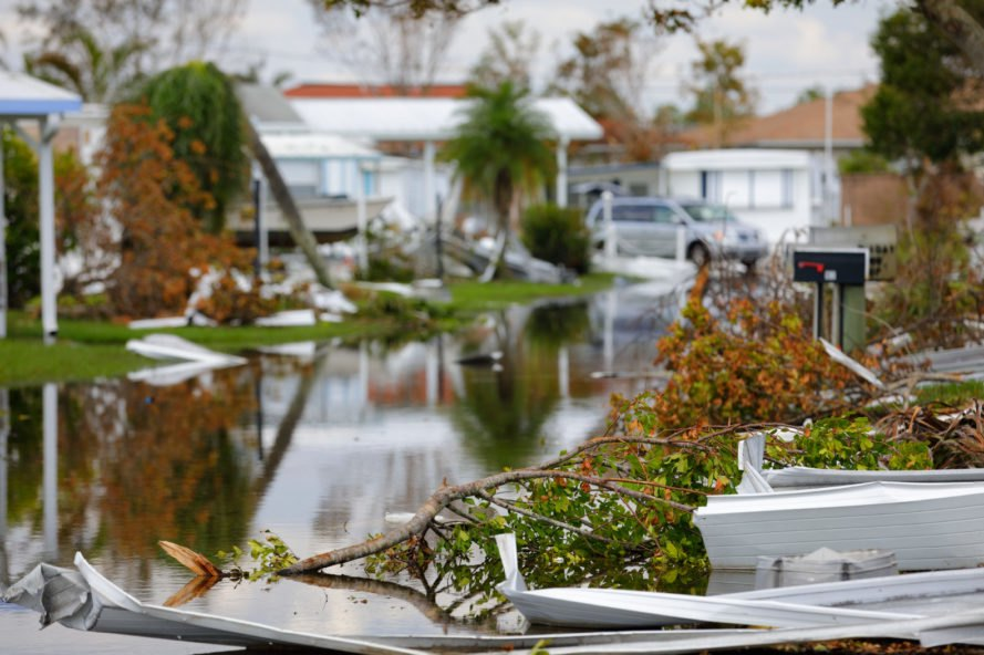 Mobile homes damaged by Hurricane Irma in Naples, Florida