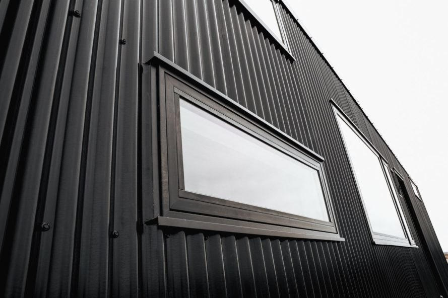 upclose shot of black structure with windows