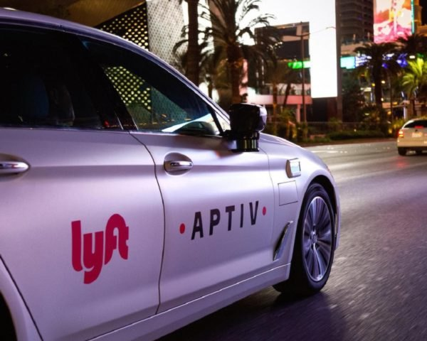 An Aptiv Lyft self-driving car in Las Vegas