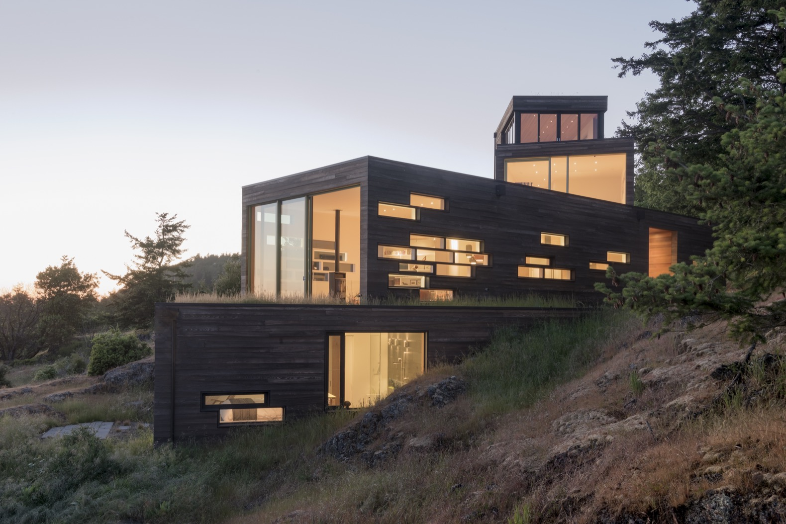 """""""Delightfully surprising"""" green-roofed island home cascades down a rocky slope"""