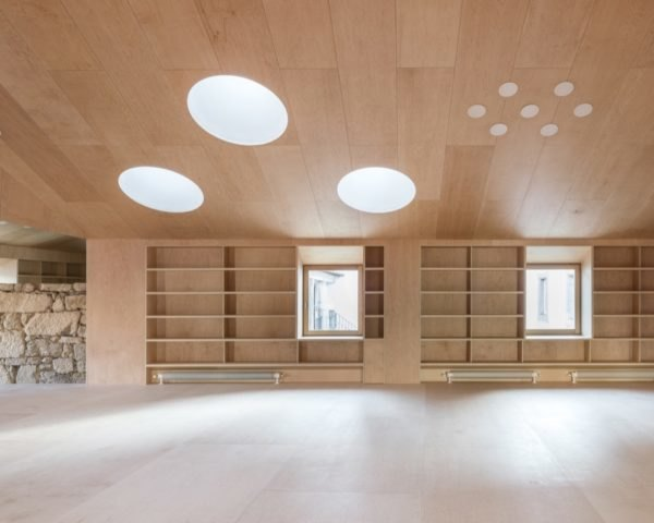 main library room with maple paneling and skylights