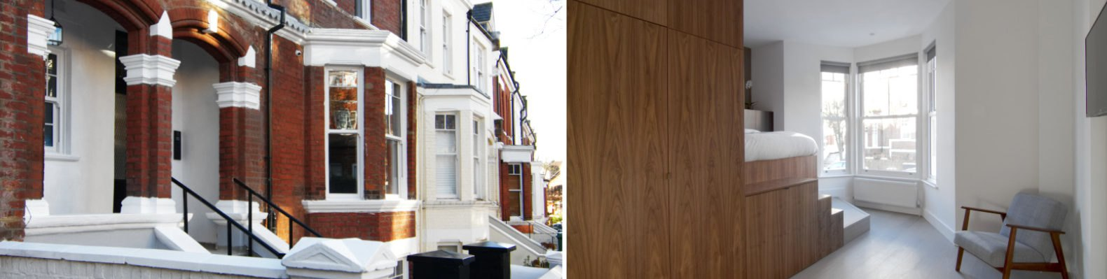 image of brick townhouse exterior on the left and wooden bed and kitchen unit on the right