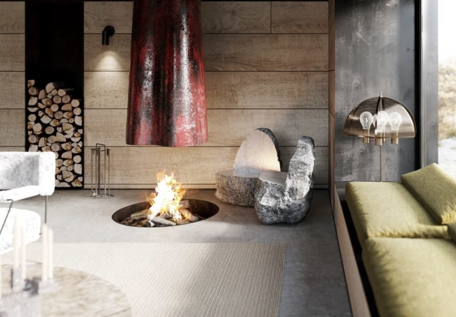 a suspended fireplace with fire pit in the floor