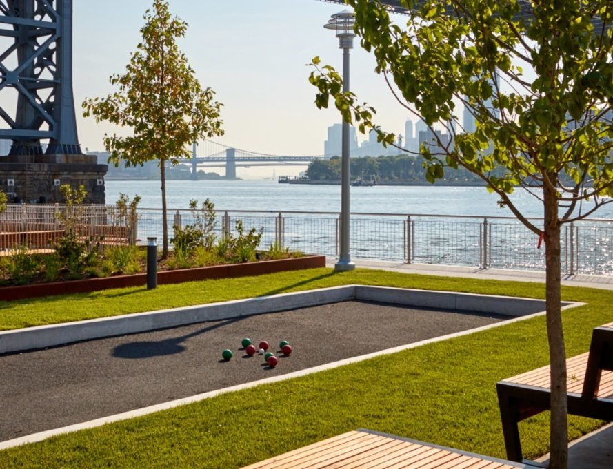 bocce ball court near river