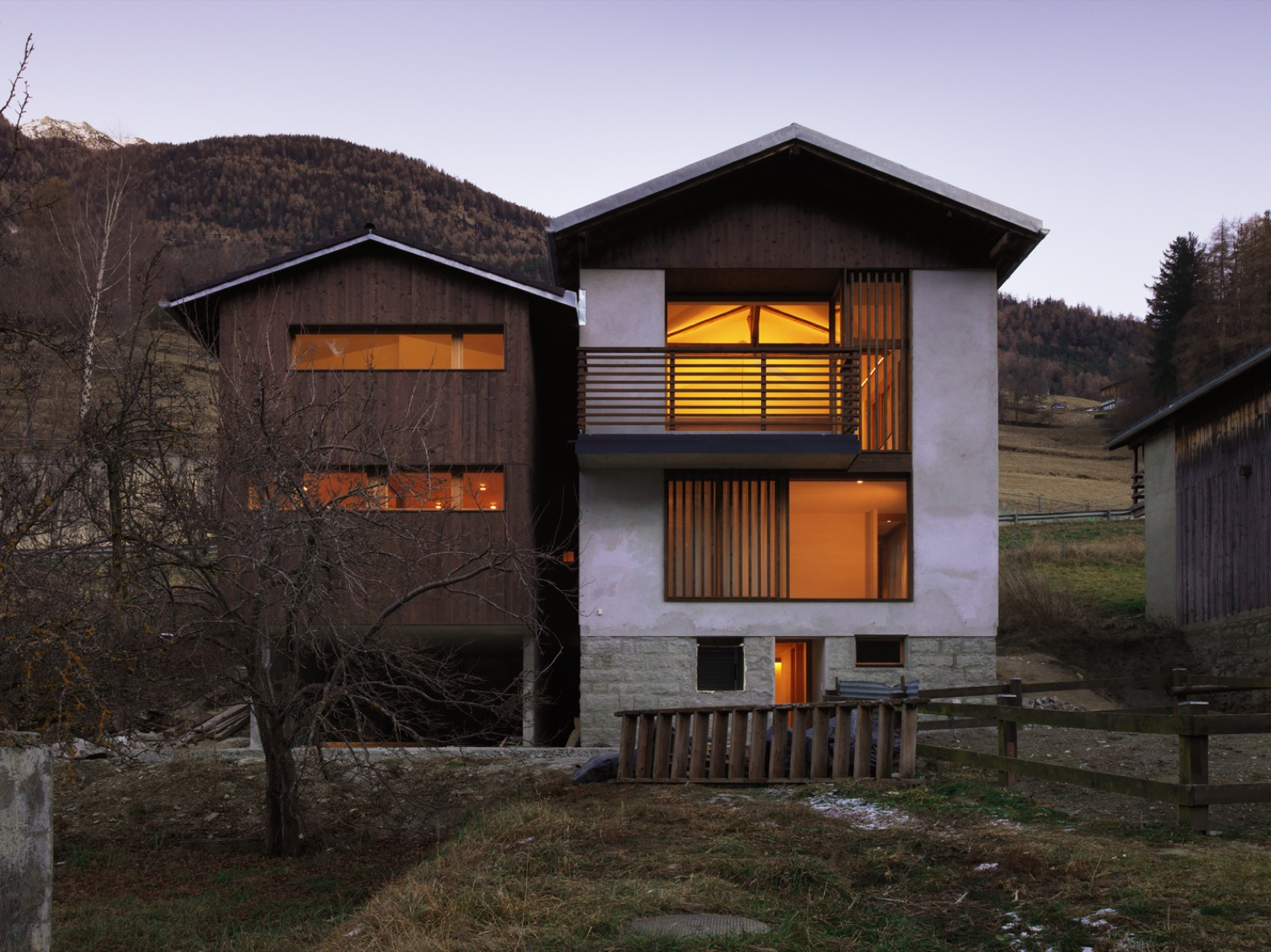 A 1920 Swiss barn is reborn as a modern home for a family of five
