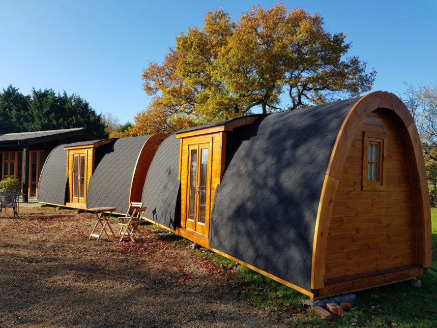 a series of extended curved cabins
