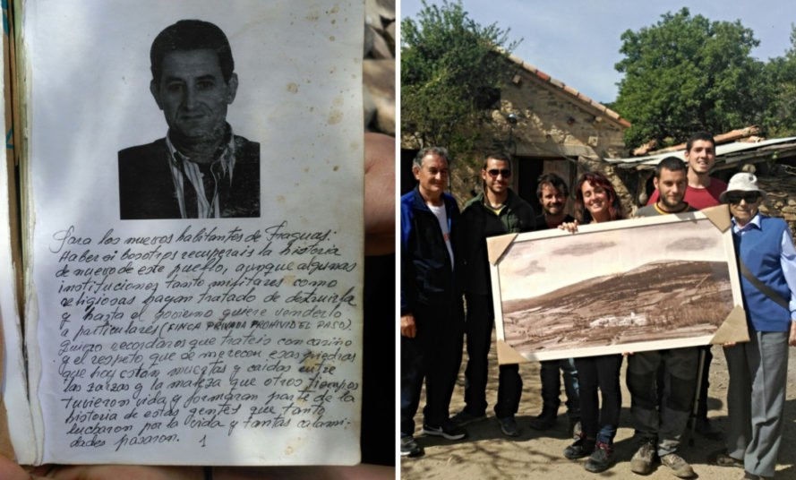a letter and a group of people holding a photo