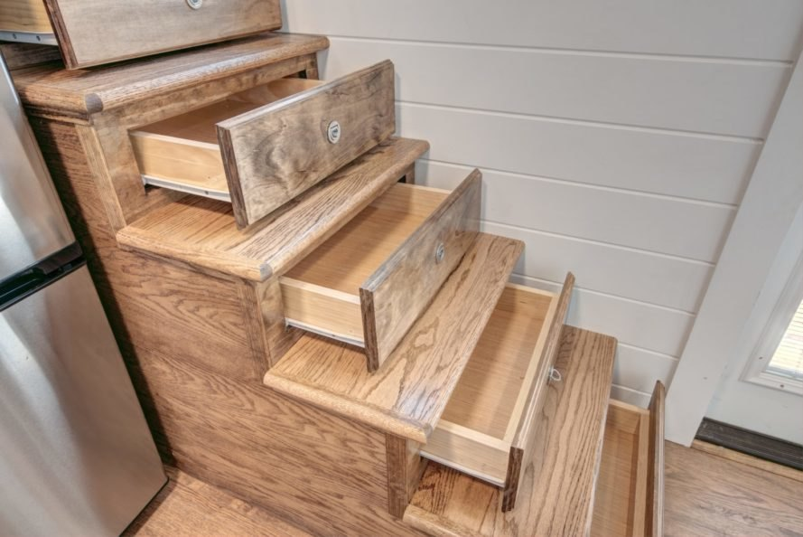 steps with drawers pulled out