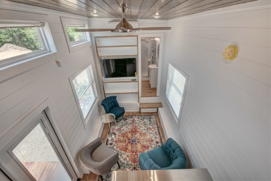 aerial shot of living space with white walls