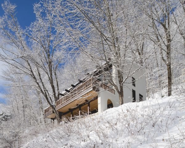 view of a canadian chalet in snowy forest