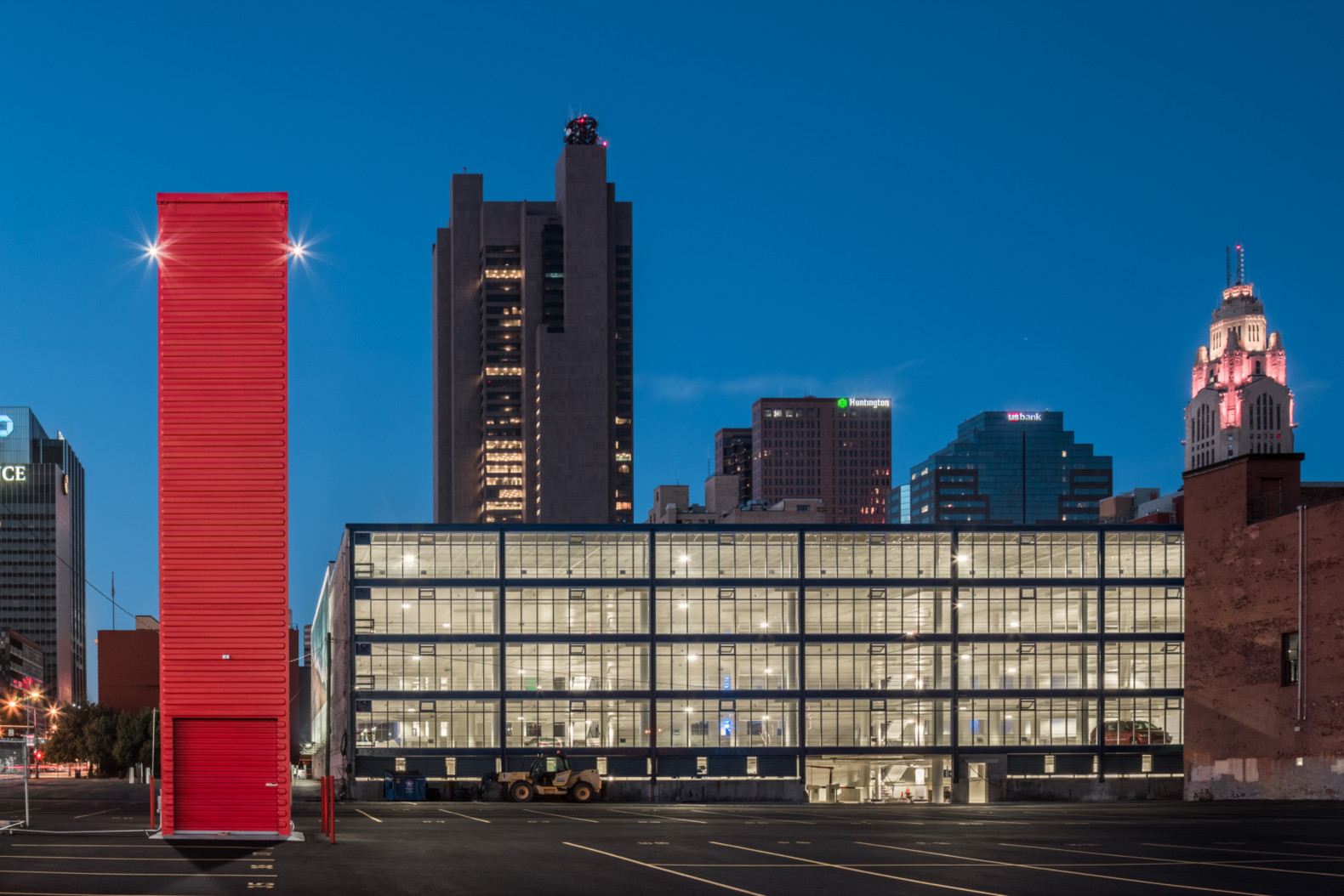 Old shipping container repurposed as a 40-foot-tall parking booth