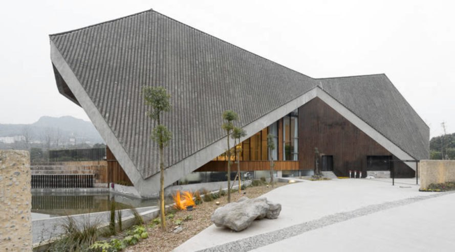 building with grey sloped roof