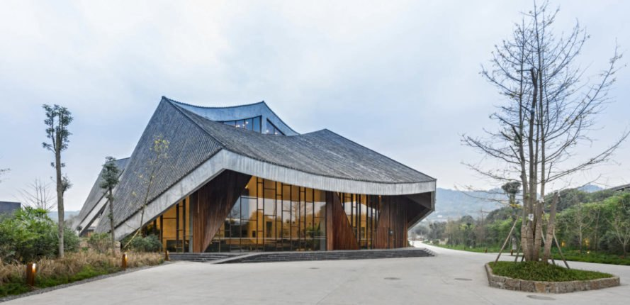 building with sloping roof and glass facade