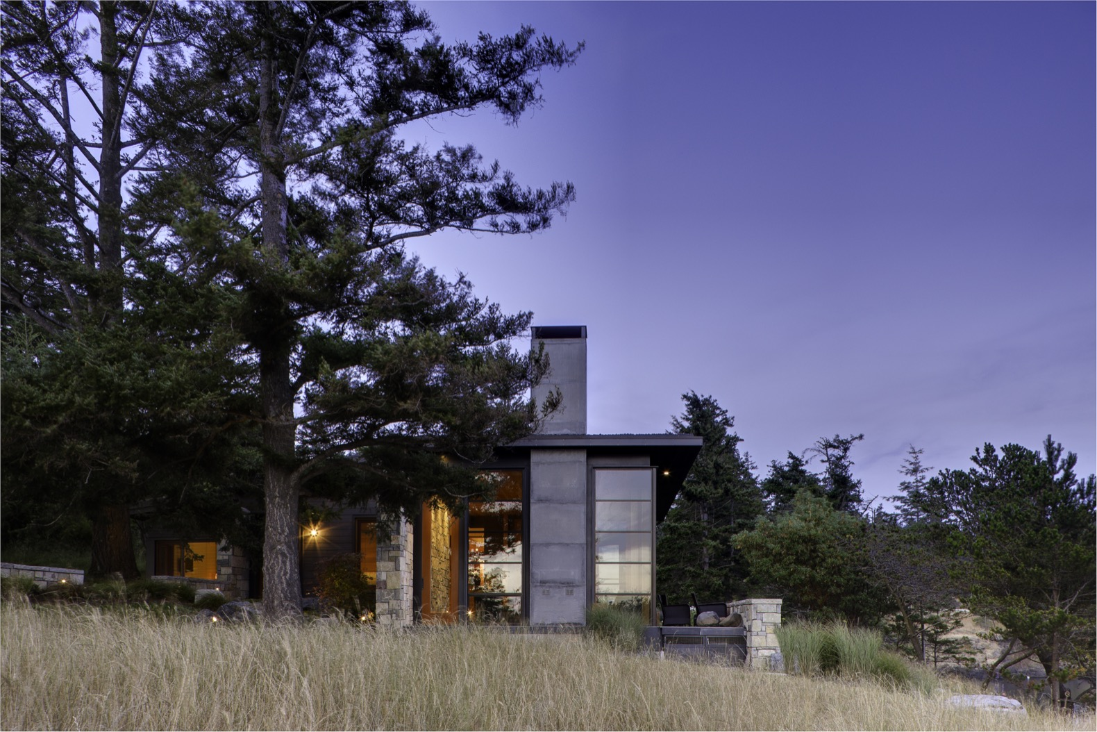 Green-roofed vacation home embraces old-growth trees in the San Juan Islands