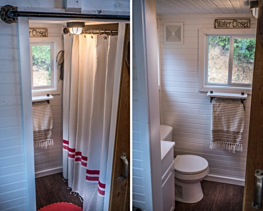 bathroom with toilet, shower and window