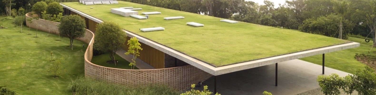 Large green roof with solar panels