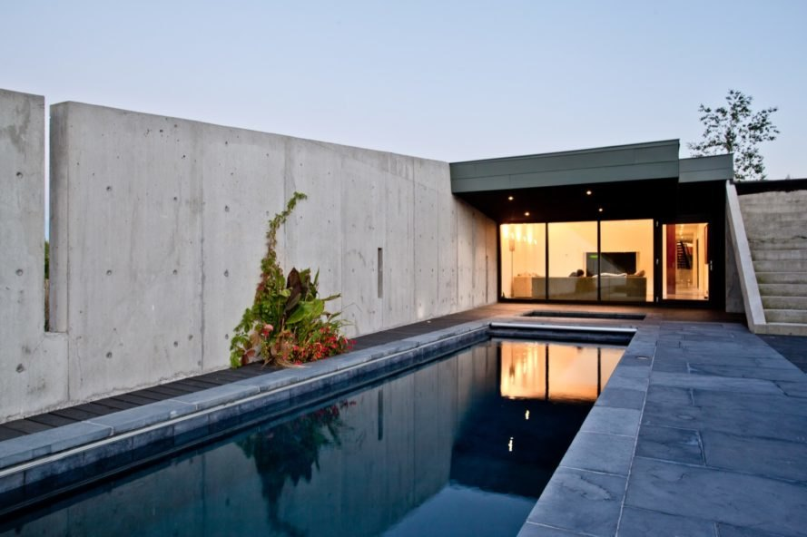 concrete wall and outdoor pool
