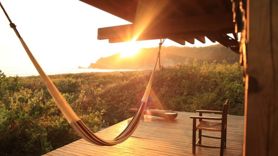 hammock on terrace at sunset