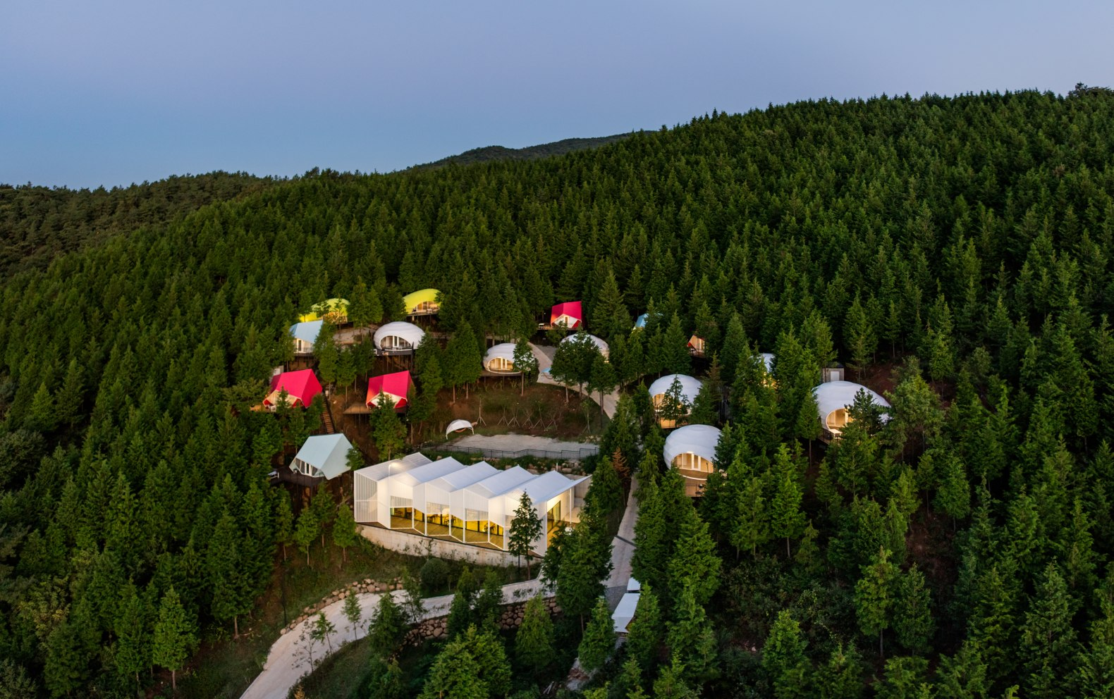 These Colorful Glamping Pods Are Tucked Into A South Korean Mountain Range