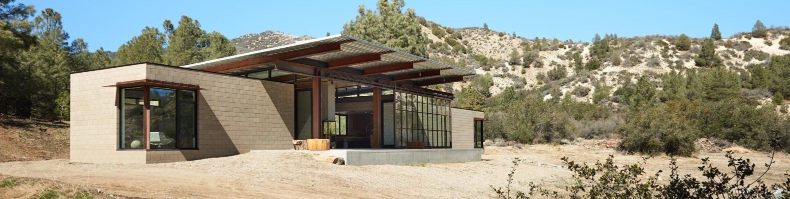 exterior view of net zero house in desert
