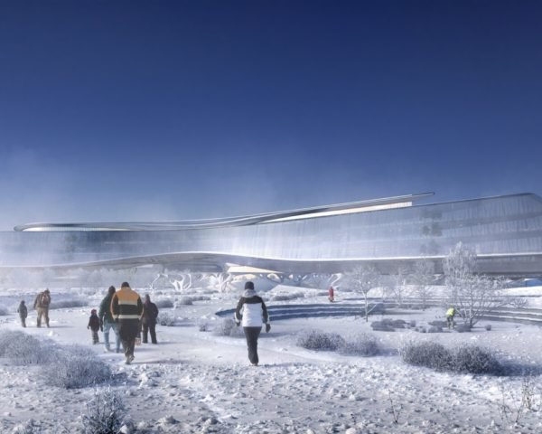 rendering of Sberbank Technopark building exterior with snow